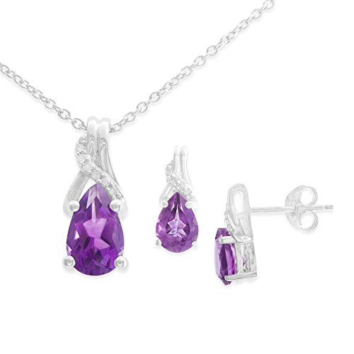"Brilliant Designers 2.15 CT Pear Shaped Amethyst & Diamond Accent Earrings & Pendant in Sterling Silver & 18"" Silver Chain - Diamond Pear Shape Earrings"