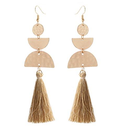 HSWE Long Tassel Earring for Women Crescent Moon Thread Fringe Earrings for Girls -