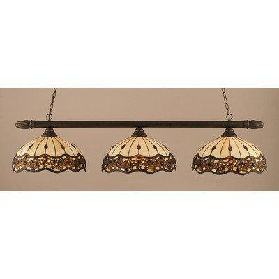 3 Lights Round Bar w Roman Jewel Glass Shades