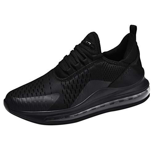 JUSTWIN Mens Athletic Mesh Sneakers Breathable Walking Sport Shoes Sneakers Black