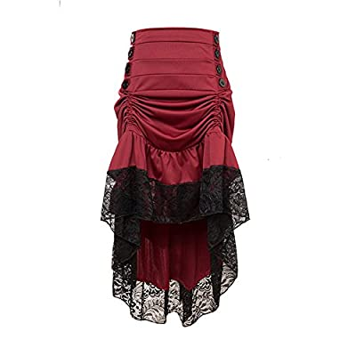 WECHERY Women's Steampunk Gothic High Low Lace Party Skirt