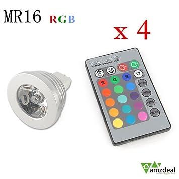 amzdeal® 4x MR16RGB Bombillas led, focos led, lampara RGB 3W bombillas bajo consumo