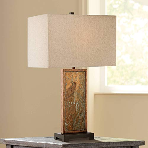 Yukon Modern Table Lamp Natural Slate Stone White Rectangular Shade for Living Room Family Bedroom Nightstand - Franklin Iron Works