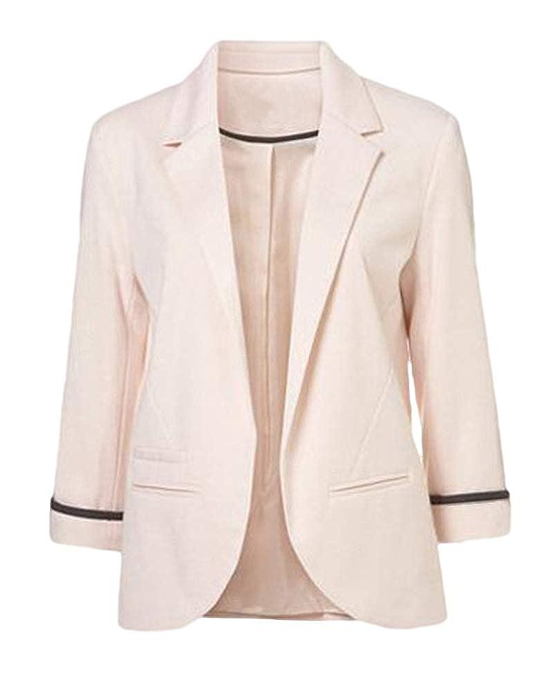 Femme Élégant Blazer À Manches Longues Slim Fit OL Veste De Costume ... 9387c73d25e7