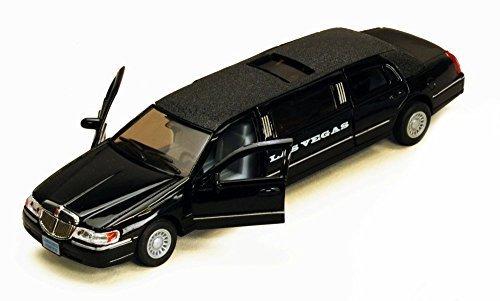 1999 Las Vegas Lincoln Town Car Stretch Limousine, Black - Kinsmart 7001KLV - 1/38 scale Diecast Model Toy - Vegas Las Town