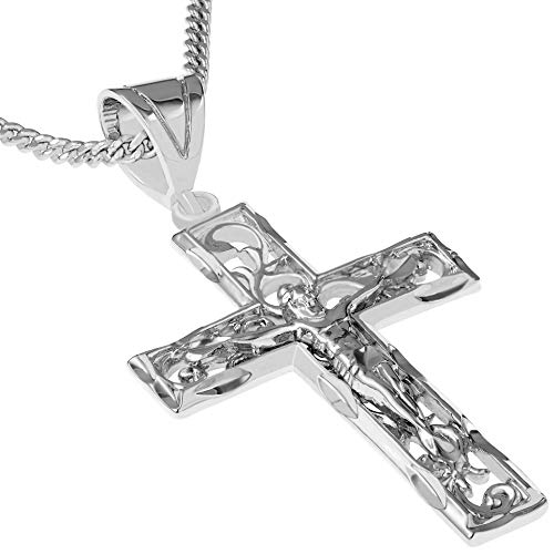"Lifetime Jewelry Cross Necklace for Men & Women [ Large Filigree Crucifix ] 20X More Real 24k Gold Plating Than Other Pendant Necklaces (White Gold Crucifix with 20"" Chain)"