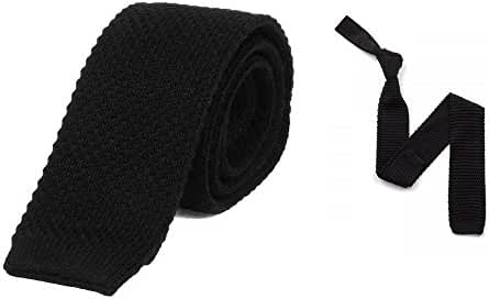 100% Cotton Skinny Knit Tie Solid Black 2 Inch Wide Gift Boxed