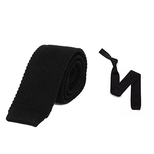 Black Knit Tie (100% Cotton Skinny Knit Tie Solid Black 2 Inch Wide Gift Boxed)