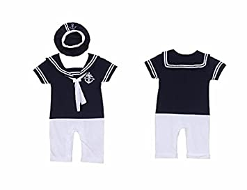 BABY BOYS SAILOR NAVY ROMPER HAT SET SUIT GROW OUTFIT COSTUME CLOTHES OUTFITS