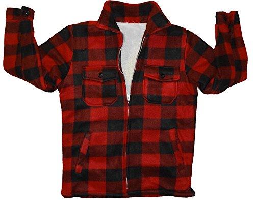 - Woodland Supply Co. Boys' Fleece Sherpa Lined Buffalo Plaid Zip Up Jacket (Medium (10/12), Red)