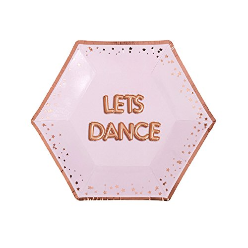Neviti 773253 Glitz and Glamour Party Paper Plates, Pink/Rose Gold, Medium ()