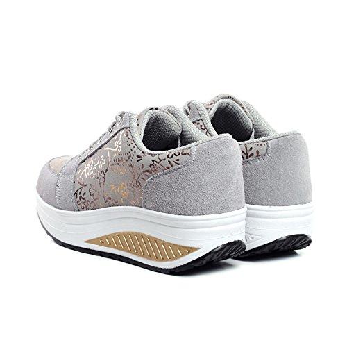 Donne Casuali Sport Dell'oscillazione di 1 grigio Shoes Stampa Pattini Respirabili Delle dgqwERE