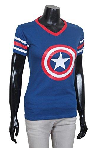 Miracle(Tm) Womens Captain America Civil War Shirt - Girls Short Sleeves Blue Shirt (Womens Captain America)