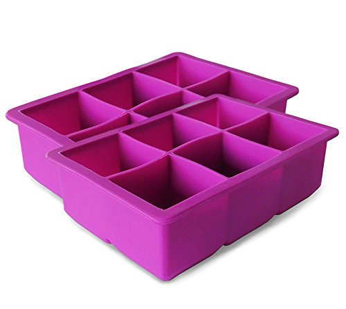 Elbee EB-614X2 Coolest 6 Silicone Ice Tray-2-Piece Mold Set-Make 12 Cubes (Large 2 Pack), Purple ()