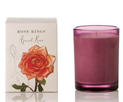 - Rosy Rings Apricot Rose Botanical 17.5 oz Glass Jar Candle