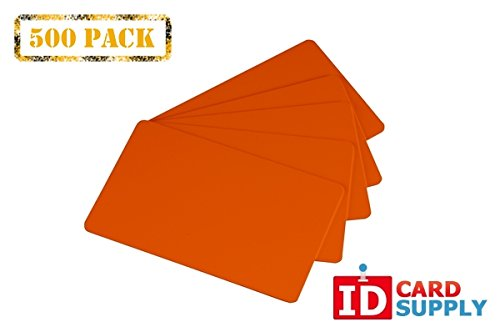 Pack of 500 Orange CR80 PVC Cards | 30 mil by easyIDea