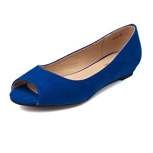DREAM PAIRS Women's Dories Royal Blue Low Wedge Peep Toe Flats Shoes Size 7 M US ()