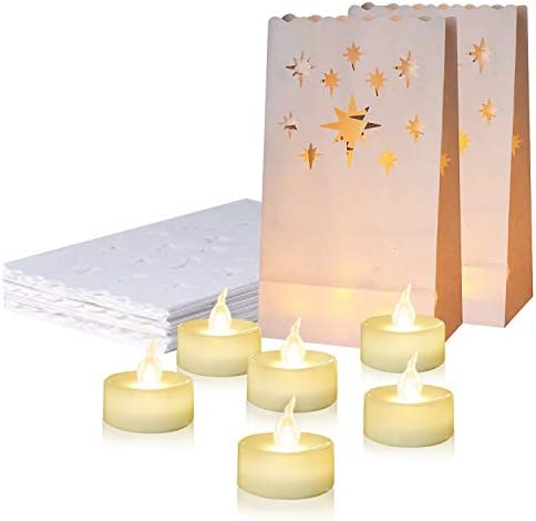 Homemory 24 PCS LED Tea Lights with 12 PCS Luminary Bags, Flameless Votive Tealights Candles with Warm White Flickering Light, Small Electric Tea Candles for Wedding, Party, Christmas, 150 Hours