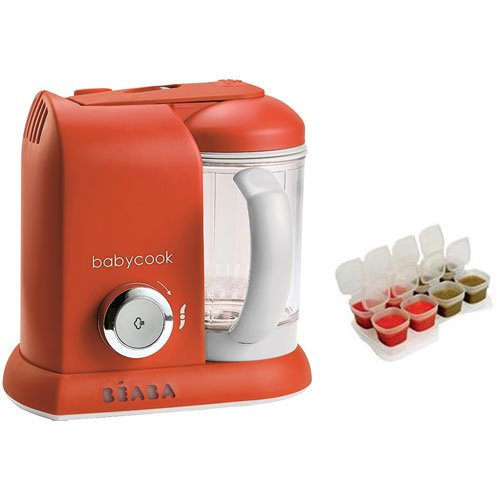 Beaba Babycook 4 in 1 Steam Cooker and Blender - Paprika with BONUS 2oz/70 ml Baby Cubes by Beaba (Image #2)