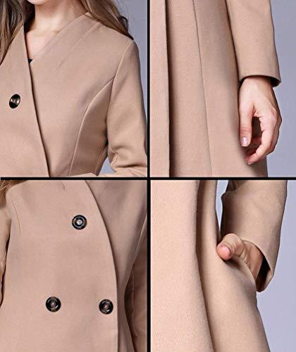 Estilo Gabardina Outerwear Botonadura Kamel Unicolor Gabardinas Moderno Fit Larga Caliente De Invierno Mujer Solapa Abrigo Manga Slim Modernas 6ABnH6FR