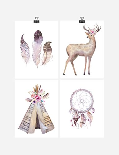 Teepee Postcard (Boho Tribal Watercolor Nursery Wall Art Print Set of 4 - Deer, Feathers, Teepee and Dreamcatcher - Multiple Sizes)