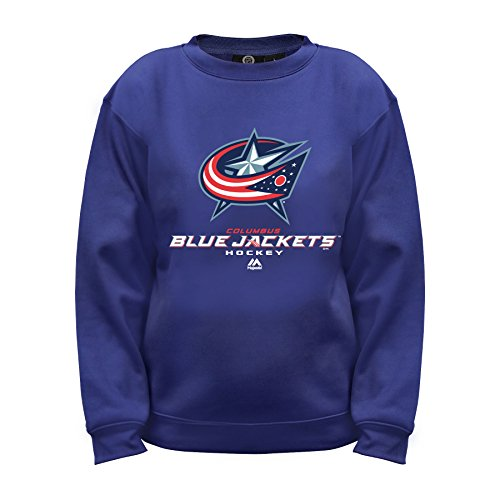 NHL Columbus Blue Jackets Long Sleeve Fleece Crew Neck Top, Large, Navy