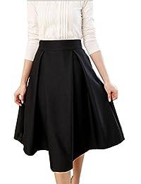 Eyekepper Womens Solid Vintage Women High Waist Full A Line Pleated Skirts
