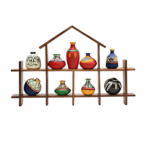 ExclusiveLane 9 Terracotta Warli Handpainted Pots With Sheesham Wooden Hut Frame Wall Hanging -Indian Decorative Items For Home Gift Item Wooden Wall Art Decor Decorative Shelves Vases Home Decor