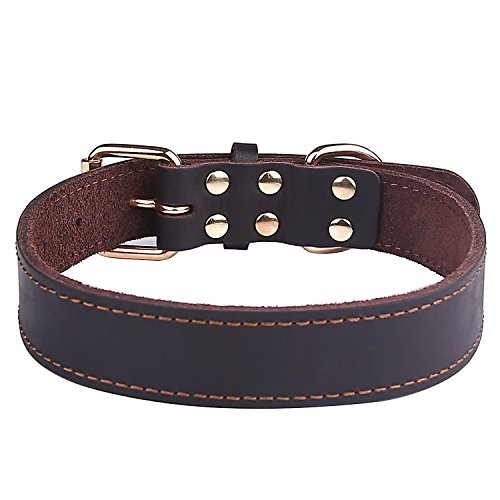 Taglory-Genuine-Leather-Dog-Collars-Military-Grade-Dog-Training-Collar-for-Small-Medium-Large-Dogs-Soft-and-Durable-Real-Leather-Brown