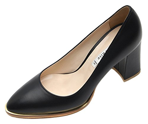KAREN WHITE Womens Classic Pumps High Heel Genuine Leather Shoes, Availble In Black and Ivory Black
