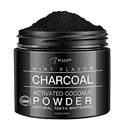 Teeth Whitening Charcoal Powder, MayBeau Large Capacity Activated Charcoal Coconut Powder Best Natural Mint Tooth Whitener Powder(2.8 Oz)