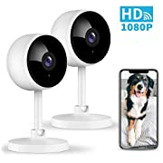 #LightningDeal Home Security Camera, Littlelf 1080P Indoor WiFi Surveillance IP Camera with Manual Night Vision, 2-Way Audio, Human Motion Dectetion for Pet/Office/Baby Monitor, Worked with Alexa - 2 Pack