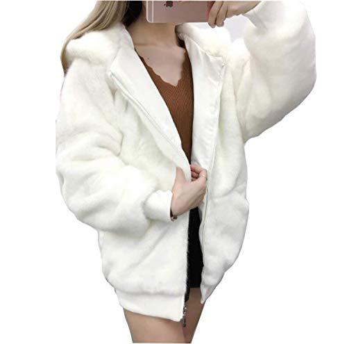 Faux Cuir Manteau Femme Automne Hiver Loisir Long Manches Chaud Manteau De Fourrure Mode Chic  Capuchon lgant Exquis Doux Confortables Uni Manche paissir Veste en Fourrure Outerwear Blanc