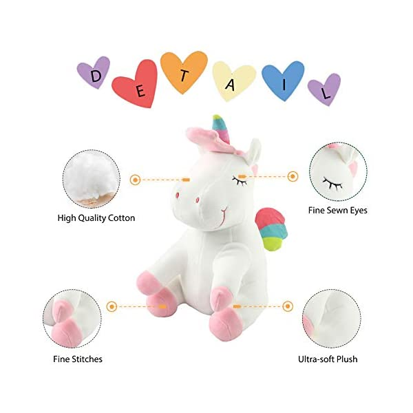 Athoinsu 13 inch Pink Plush Stuffed Fluffy Unicorn Animal Toy Ideal Gift Birthday Present for Girls Aged 3-10 Years Old or As Valentine's Gift for Lovers 6