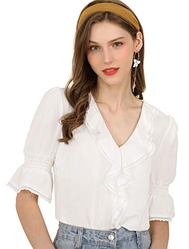 Allegra K Women's Ruffle V Neck Half Bell Sleeve Blouse Summer Vintage Casual Chiffon Peasant Top White XS (US 2) ()