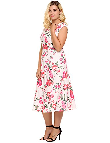 Womens Plus Size Casual Cocktail Wedding Guest Party Skater Dress Midi Fit and Flare Tea Sleeveless Sundress
