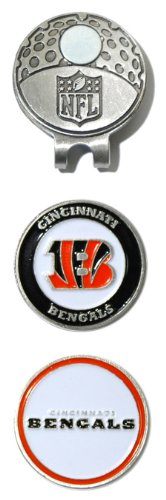 Team Golf NFL Cincinnati Bengals Golf Cap Clip with 2 Removable Double-Sided Enamel Magnetic Ball Markers, Attaches Easily to Hats