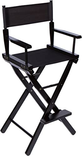 Trademark Innovations Bar Height Director s Chair – Black Wood – 30 Black