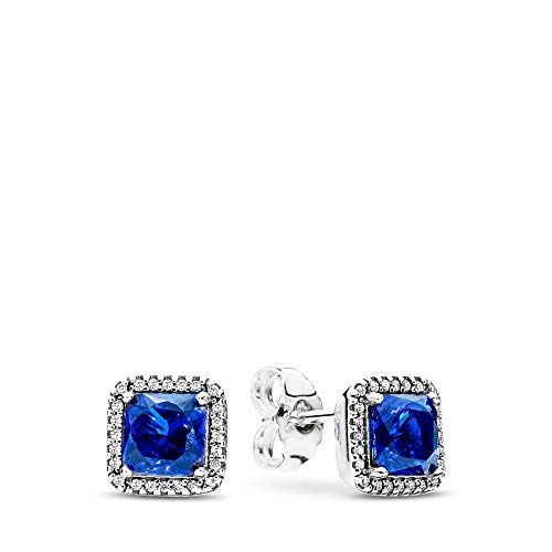 PANDORA Timeless Elegance Stud Earrings, Sterling Silver, True Blue Crystals, Clear Cubic Zirconia,...