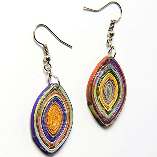 (Leaf shape earrings made from magazine paper PRIME vegan gift gifts salvaged unique bohemian organic quilled boho jewelry quilling upcycled upcycle up-cycled recycled organic art of vegetarians )