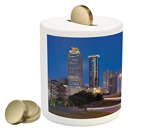 Landscape Piggy Bank by Lunarable, Cosmopolitan Cityscape with Skyscrapers at Night Highway Atlanta Georgia Photo, Printed Ceramic Coin Bank Money Box for Cash Saving, (Georgia Piggy Bank)