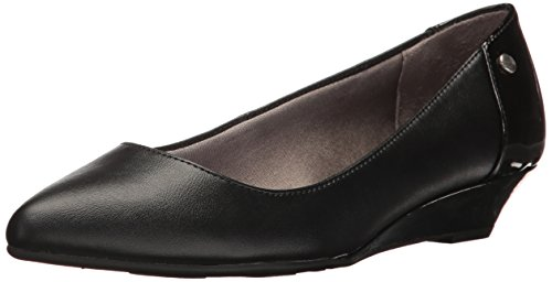 LifeStride Women's Spark Pointed Toe Flat, Black Synthetic, 6.5 W US