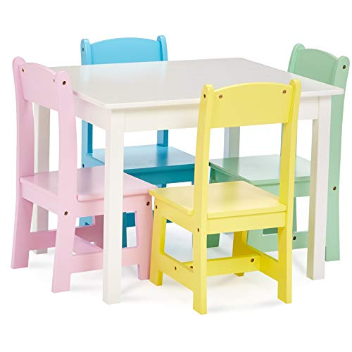 (Phoenix Home Fermo Kid's White Wood Table and Pastel-Color Chair Set (Pink, Yellow, Green, Blue) )