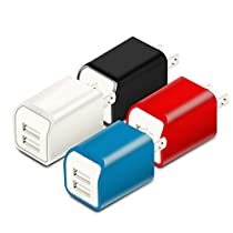 USB Wall Charger, 4Pack Charger Adapter 2.1A Universal Dual Port Travel Quick Charger Plug Cube Home Power for iPhoneX 8/7/6S/6 Plus, Samsung Galaxy S9/S8/S7/S6 Edge, LG andMore