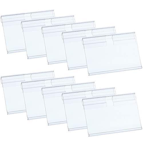 Hestya Price Label Holder Clear Plastic Wire Shelf Retail Label Holder Merchandise Sign Display Holder (100)