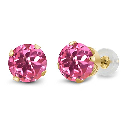 Gem Stone King 14K Yellow Gold Round Pink Mystic Topaz 4-prong Stud Earrings (2.00 cttw, 6mm)