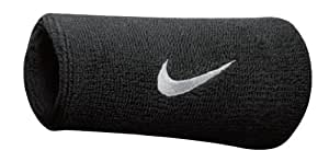 Nike Swoosh Doublewide Wristbands, Womens Mens, Sports Wristbands, N.NN.05.010.OS, Black, One Size