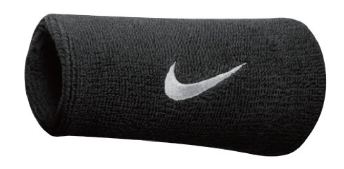 Nike Swoosh Doublewide Wristbands (Black/White, Osfm) -