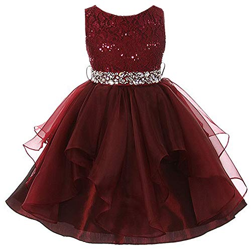 Big Girls Lace Bodice Asymmetric Ruffles Tulle Skirt Rhinestones Flower Girl Dress Burgundy - Size 14