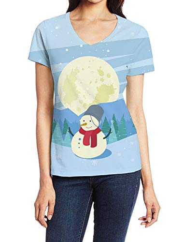 Girls T-Shirt, Xmas Landscape Snowman Forest and Moon 3D Art Print Casual Tops for Women V-Neck Tees, M